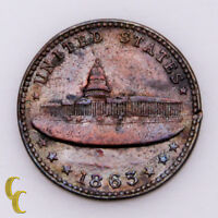 1863 Civil War Token US Capitol Building Army/Navy in XF/AU Condition