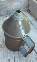 Primitive Old One Quart Tin Gas Service Station Oil Pitcher Soldered Seams WWII