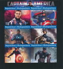 More details for madagascar 2021 mnh marvel superheroes stamps captain america movies 6v impf m/s