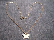 """STERLING SILVER BUTTERFLY ON .925 16""""-BOX CHAIN ALSO WITH CZ RHINESTONES"""