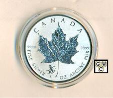 2016 $5 Monkey Privy Mark Silver Maple Leaf 1oz .9999 Fine Silver Coin (OOAK)