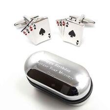 4 Aces Playing Card Casino & Gambling Gaming Cufflinks & Engraved Gift Box