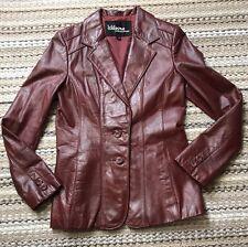 Women's Wilsons LEATHER Vintage Red Brown Coat Size 10 Medium Jacket