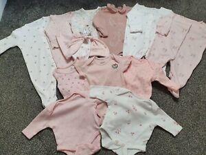 Baby Girl Next M&S Mamas & Papas Sleepsuit Vest Hat Bundle Newborn & 0-3 Months