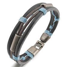MENDINO Men's Womens Alloy Leather Bracelet Handmade Seil Clasp Bangle Blue 8.5