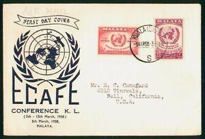 Mayfairstamps Malaya 1958 ECAFE Conference Kuala Lumpur First Day Cover wwp79935