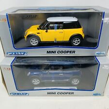 Welly Mini Cooper Yellow  & Blue 1:18 Scale Die Cast Lot Model Coupe Car