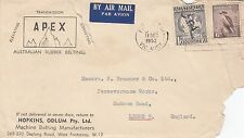 Stamps 1/6 black Hermes uprated with 6d Kookaburra APEX advertising cover to UK