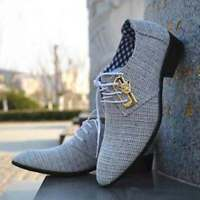 Chaussures à lacets en tissu blanc véritable pour hommes faits à la main