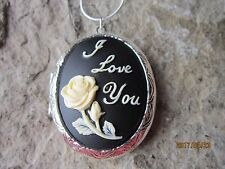 I LOVE YOU WITH A RED ROSE ON BLACK CAMEO SILVER PLATED LOCKET - MOTHER'S DAY
