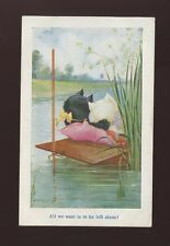 Animals CATS romance on punt Artist A.E.Kennedy Used 1917 PPC by Faulkner