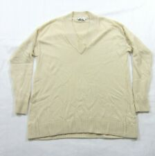 Vince Off White Cashmere Pullover Ribbed V Neck Sweater Sz XXS DISCOLORATION