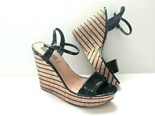 Steve Madden Sandals 9 M Striped Wedge Platform Sophia Black Patent
