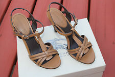 BURBERRY ULSTER BROWN  LEATHER PEEP TOE SANDAL #11us $479