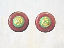 ROUND WOOD WITH GREEN AND GOLD TONE CENTERS VINTAGE SCREW BACK EARRINGS