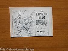 1955 FERROVIE NORD MILANO PIANTA MAPPA LINEE TRENO PUBBLICITA COMO VARESE NOVAR