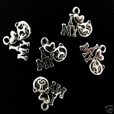 10 Tibetan Silver I Love My Cat Pendant Charms