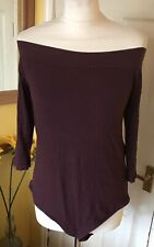 Ladies F & F  Burgundy  Body Suit All In One Top Bardot Off Shoulder Size 20