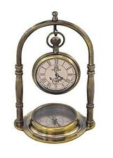 Dekorativer Kompass - Messing im Antikdesign- kein polieren- mit Uhr