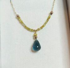 1ct yellow Diamond 4ct London Blue Topaz briolette 14k gold pendant necklace