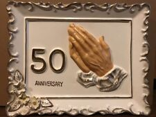 Vintage Lefton Style 50th Anniversary Wall Plaque Praying Hands P-145 JAPAN