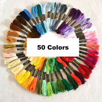 50 Colors Embroidery Thread Hand Cross Stitch Sewing Skeins Craft Home Set UK