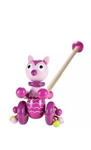 Mousehouse Kids Push Along Wooden Toy Cute Pink Owl for Baby Todder Girls