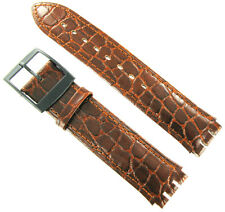 17mm Croco Grain Leather Padded Stitched Med.Brown Fits Swatch Watch Band Jeremy