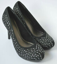 Ladies Tamaris Black Blingy Platform Heeled Shoes Size UK 4