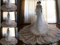 White Ivory Wedding Veils 2T Lace Edge Cathedral Long Length Bridal Veil +Comb