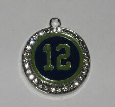 """SEATTLE SEAHAWK INSPIRED 15/16"""" RHINESTONE CHARM WITH NUMBER """"12"""" IN CENTER"""