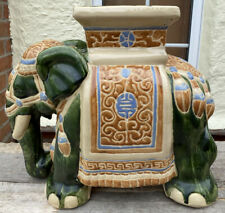 More details for antique vintage large green glazed elephant garden seat plant stand ceramic vgc