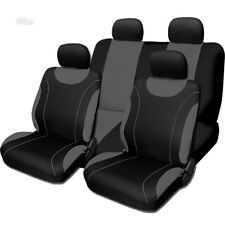 New Sleek Black and Grey Flat Cloth Seat Covers Set For Nissan