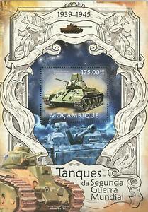 """MOZAMBIQUE - 2013 MNH """"WWII - Tanks Of WORLD WAR II"""" Souvenir Sheet (I) !!!"""