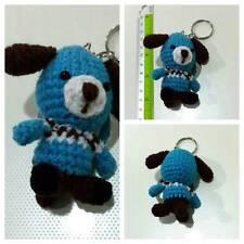 CHRISTMAS GIFT DOG #2 POOCH CANINE BLUE KEYCHAIN KEY RINGS CROCHET DIY HANDCRAFT