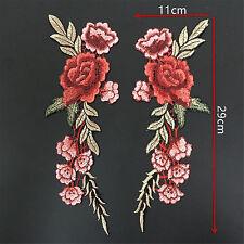 Hi 2X Embroidery Rose Flower Sew Patch Badge Bag Hat Jeans Dress Applique Craft