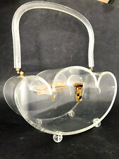 """New listing 12"""" Large Vtg 50's Mcm Clear Lucite Domed Footed Handbag~Bauletto~Wilardy Type"""