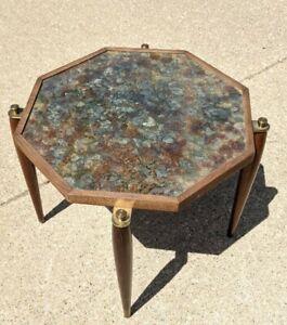 Vintage Rare Mid Century Art Glass Mirror Table Octagon Art Mirror Top Retro