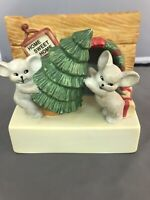 Mice with Christmas Tree Light Up Music Box Vintage 1988 House of Lloyd