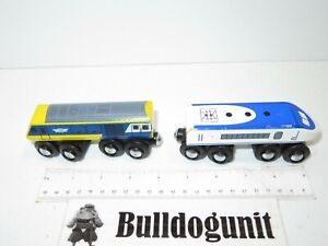 Lot of 2 Wood Maxim Magnetic Train Toy Magnet White Blue Yellow