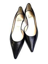CHRISTIAN LOUBOUTIN Black Suede Silver Glitter Pointed-Toe Kitten Heel Pumps 40