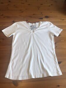 George Moda Size 14 White T Shirt Top Stretch Cotton Square Cutout Detail