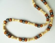 "AFRICAN ETHNIC INSPIRED MENS 20"" SURFER CREAM BROWN BLACK WOOD BEAD NECKLACE"