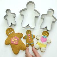 3 Gingerbread Man Cookie Cutter Biscuit Fondant Mould Kitchen Pastry Baking Tool