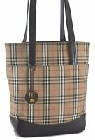 Authentic Burberry Nova Check Canvas Leather Shoulder Tote Bag Brown Beige C0358