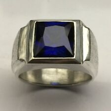 MJG STERLING SILVER MEN'S RING.10 X 10MM  SQUARE FACETED LAB SAPPHIRE. SZ 10
