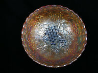 "Imperial 'Grape' Marigold Carnival Glass Scalloped Edge Bowl - 7 1/8"" diameter"