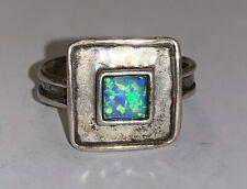 BILI Sterling Silver Modernist Artisan Ring Square Fancy Opal Israel Sz 6.75