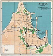 RHODES Vintage città City Map Piano. DODECANESO. Grecia 1967 OLD VINTAGE