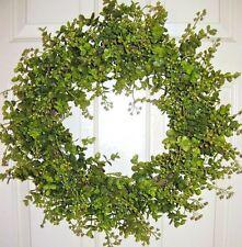 """EUCALYPTUS & BERRIES Spring Green HOLIDAY DOOR WREATH 20 """" x 11 """" CENTER opening"""